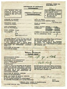 In Bretzenheim ausgestellter Entlassungsschein, Quelle: Dokumentationszentrum Bretzenheim